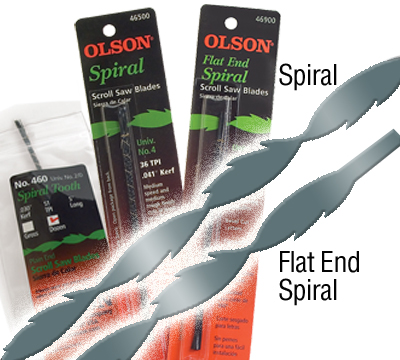 Olson spiral scroll saw blades spiral tooth blades saw in all directions with 360 cutting capability excellent for 0 radius scrollfret work you never have to turn the work piece greentooth Choice Image